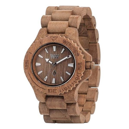 100%天然木製腕時計(男女兼用)/Date wood カラーTeak