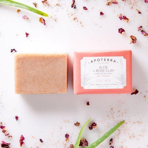 アポテラ アロエ+ローズクレイ ソープ(Apoterra Aloe + Rose Clay Complexion Soap)
