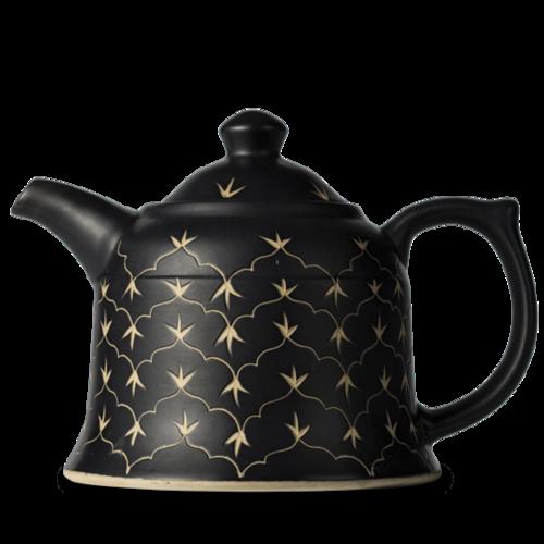 ティーポット650ml◇Henna Temple Black Teapot Medium